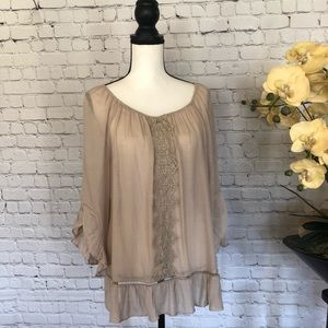 NWT Blouse with Ruffle Trim Size L